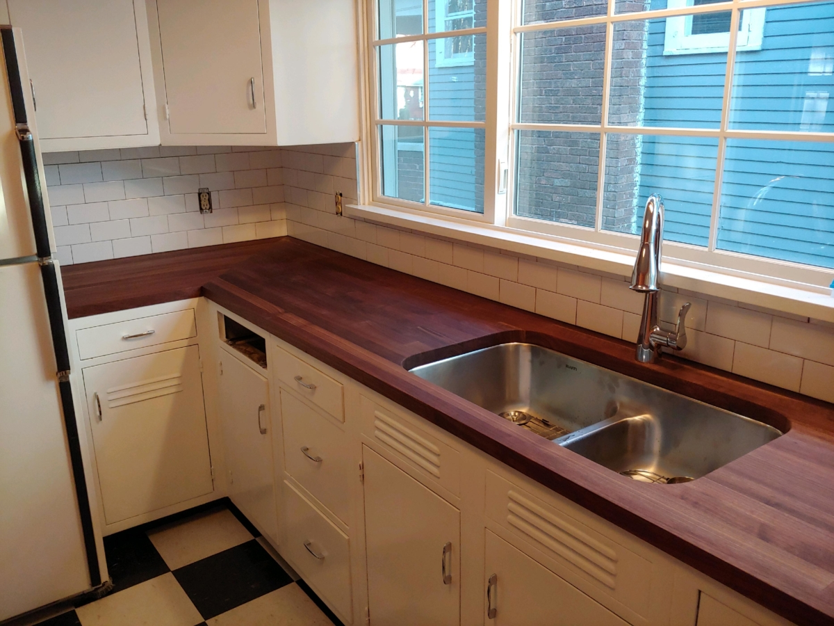 Butcher Block Tile Backsplash
