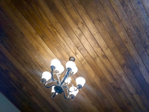 Wood Tongue & Groove Ceiling Installation